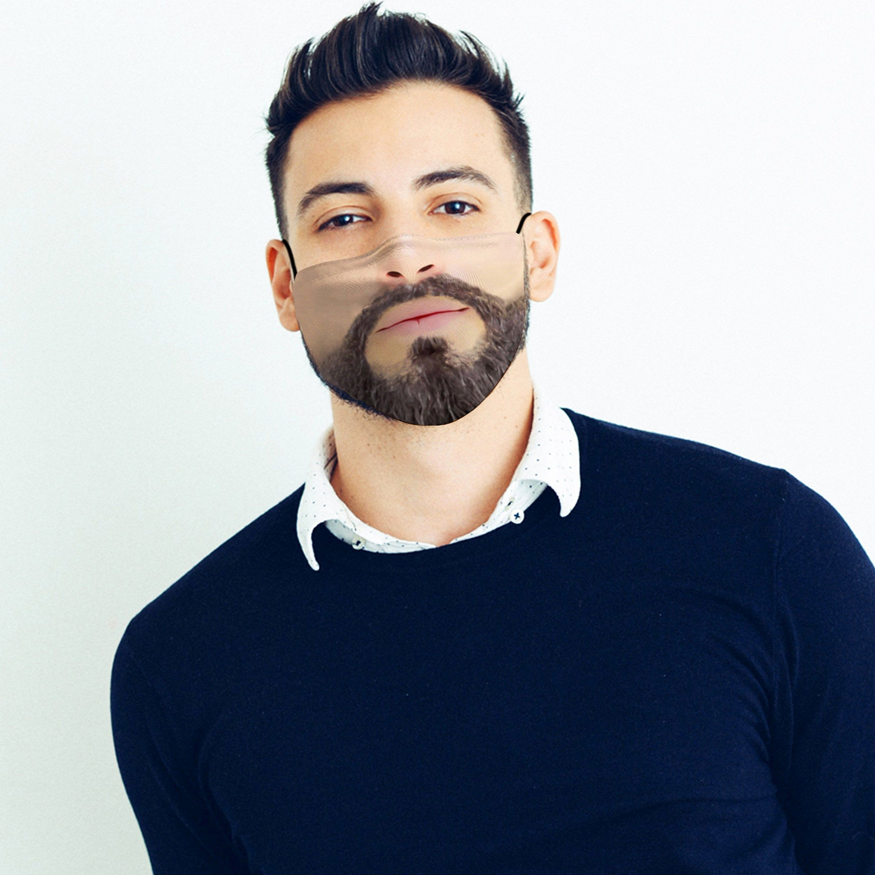 Face Mask for Men with Filter and Nose Wire Bearded men