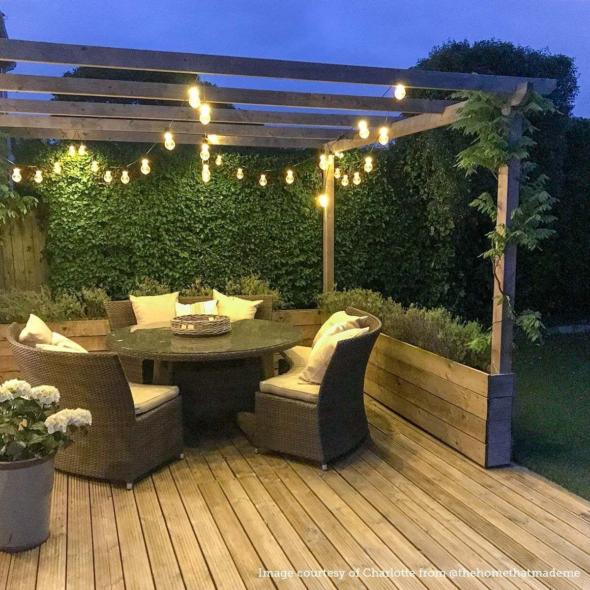 ConnectGo Large Festoon Lights, Connectable, Clear LED Bulbs is part of Outdoor gardens design, Outdoor garden lighting, Backyard patio designs, Backyard, Backyard patio, Backyard landscaping - These low voltage festoon lights are part of our cutting edge ConnectGo range, which boasts impressive versatility in its interchangeable power sources  These multipower source lights can be powered by either mains, using the latest digital 31V transformer, by battery when mains power is not available or seasonally by solar panel   These festoons feature a durable black rubber cable, with an LED spacing of 50cm, and are supplied in multiples of 5 metres; meaning if you order 45m, for example, you will receive nine 5m lengths, ready to be connected together  The lights boast warm white SMD LEDs and as part of our ConnectGo connectable lights system, you can continue to add more connectable lights to your chosen power source   The preferred choice for both indoor and prolonged outdoor displays, our superior quality LED lights have unlimited uses and come with our market leading 2 year antirust guarantee  Ideal places to use these lights are on trees, shrubs, gutters, eaves, fencing and decking  They're great for use all year round at parties and are perfect at weddings too   Each connectable length arrives separately, ready to be connected together  All products within this system feature our professionally moulded connections, designed with shaped wings for a reassuringly strong connection when adding products together  The specific power source required depends on your preferred usage and the number of lights being used  Below is a breakdown of the number of light sets that can be powered by each source Small 31V transformer   2 sets Medium 31V transformer   11 sets Large 31V transformer   20 sets (5 sets from each port) AA battery box   1 set D battery box   2 sets Solar panel   1 set Using a small, medium or large transformer, these lights boast 8 different functions, including Combination, In Waves, Sequential, SlowGlow, Flash, Slow Fade, Twinkling, and Steady On  Each time you switch the lights on, the inbuilt memory chip will automatically select the last function used   The small transformer also comes with a handy timer function, which allows you to leave the lights switched on; they will remain illuminated for 6 hours, before turning off for 18 hours and then turning back on at the same time as the previous day  These lights boast 8 different functions, including Combination, In Waves, Sequential, SlowGlow, Flash, Slow Fade, Twinkling, and Steady On  Each time you switch the lights on, the inbuilt memory chip will automatically select the last function used  If using either of the battery pack options, you can choose between Steady On, Twinkle, Steady On with Timer, or Twinkle with Timer  If using the solar panel as your power source, you can choose between Steady On and Twinkle functions  There are a variety of accessories compatible with these festoon lights, such as extension cables and Y cord connectors to aid installation  Look out for the ConnectGo overlay  every item with this logo can be connected to these lights  Installation guidance Please note the festoon belts must always be supported using a catenary wire cable