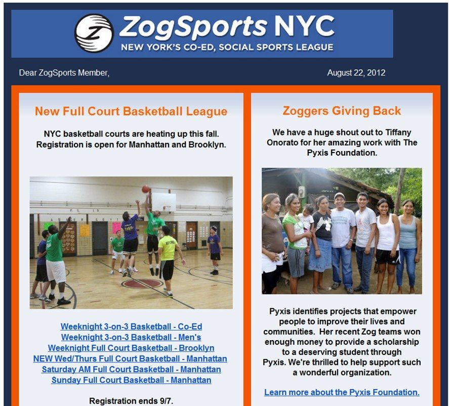 Big shout out goes to ZogSports for featuring us in their E-Newsletter! Zog Sports is a co-ed social sports league for young professionals in cities across the US. Zog donates 10% of all profits and 100% of happy hour bar contributions to charities picked by Zog Players. Pyxis Foundation has been the recipient of Zog donations TWICE. You guys are awesome!