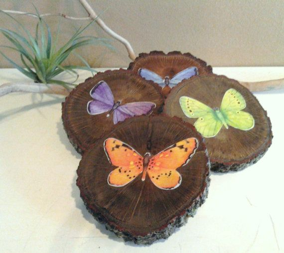Hey, I found this really awesome Etsy listing at https://www.etsy.com/listing/180509416/wood-coaster-wood-tree-slices-butterfly