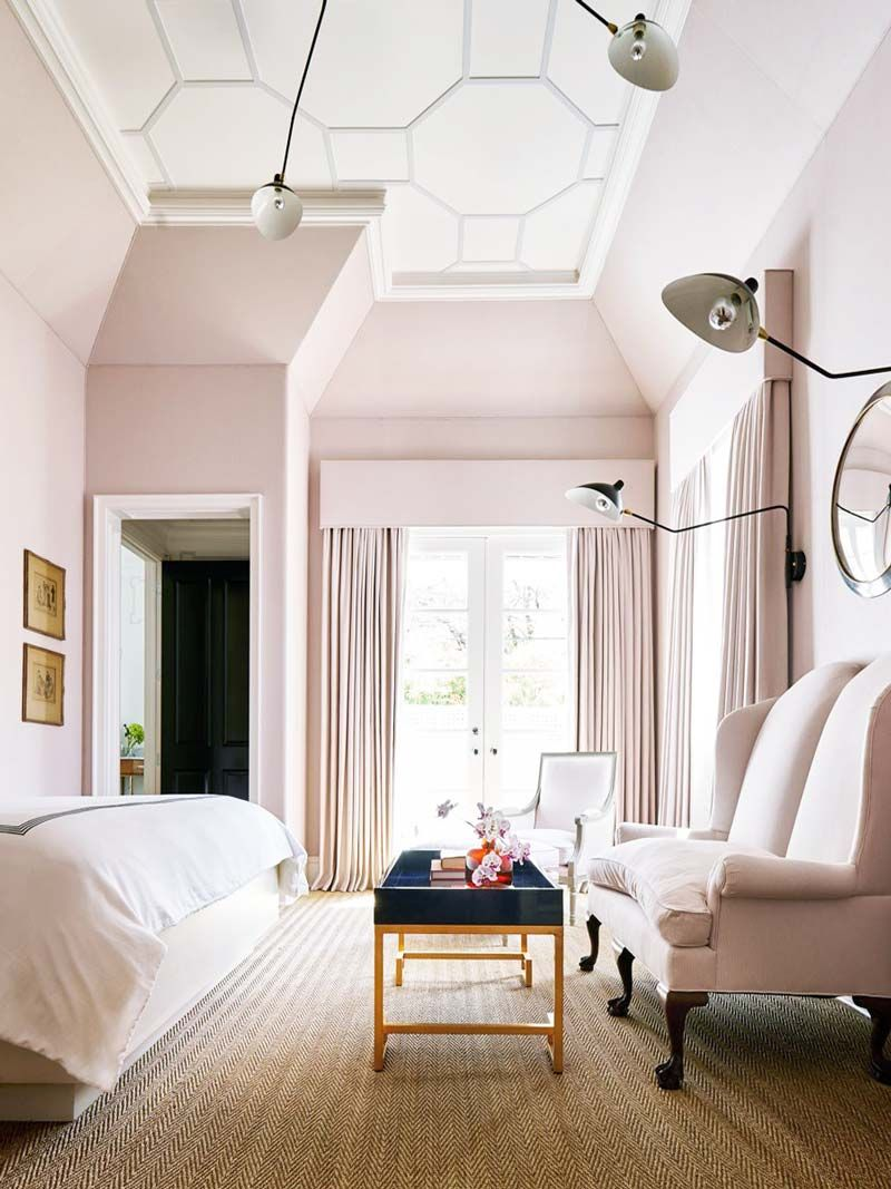 Blush Master Bedroom Suite With Modern Light Fixture On Thou Swell