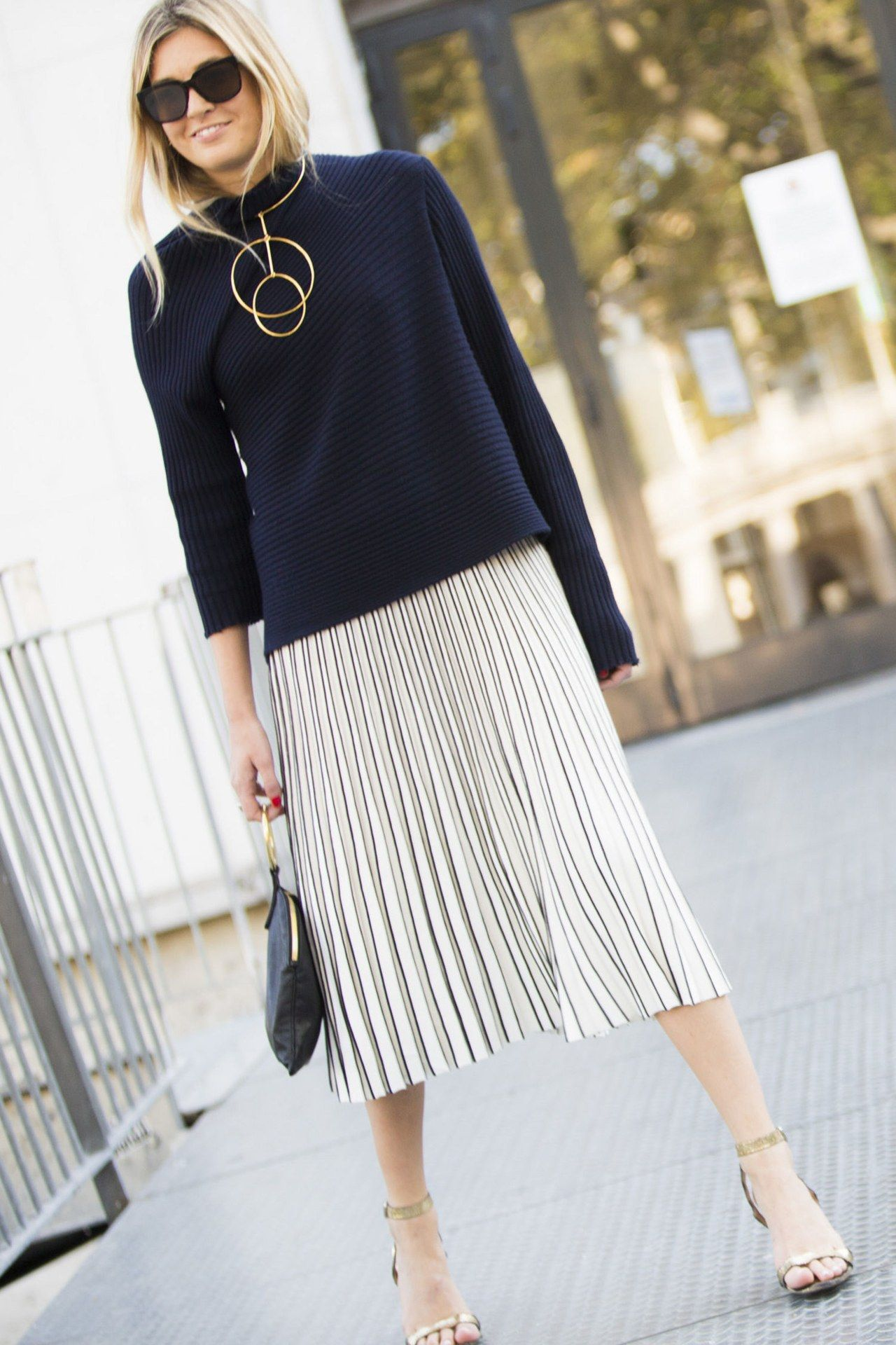 75fd0e5e13 office holiday party outfit idea sweater pleated skirt melodie jeng
