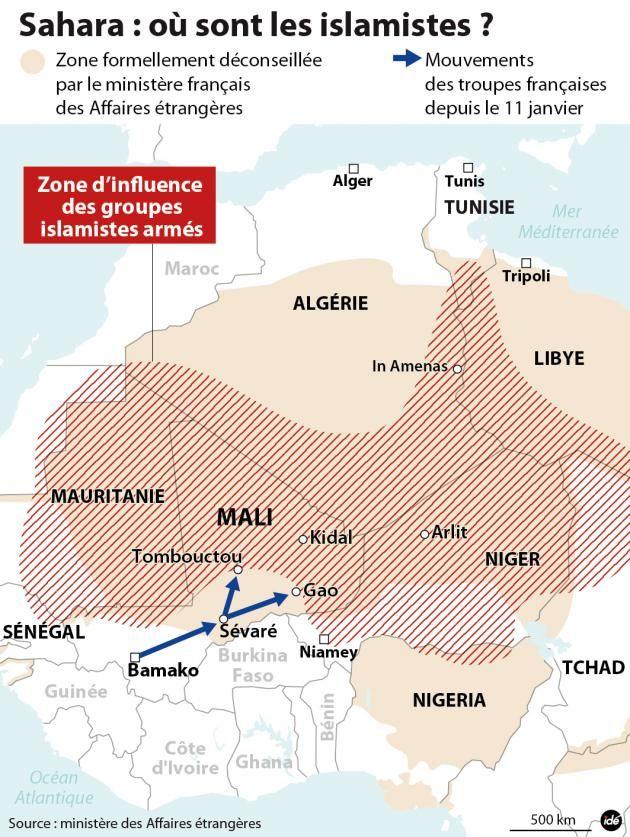 Les zones d'influence des groupes islamistes armés au