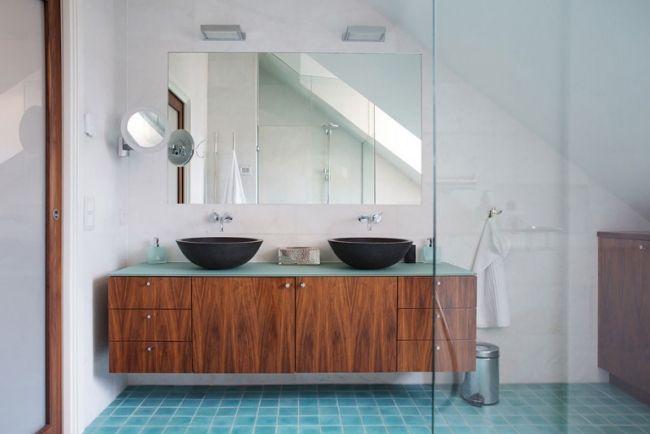 Badezimmer Ideen Bilder Moderne Möbel Runde Waschbecken Schwarz Holz  Unterschrank