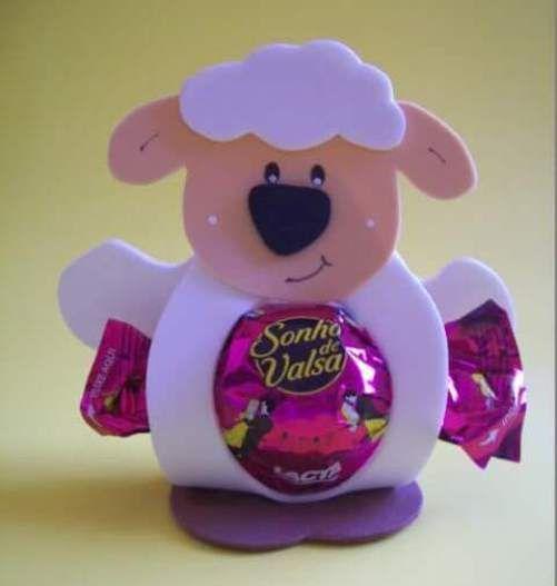 Porta dulces con molde de fomi goma eva fomi moldes - Manualidades con gominolas ...