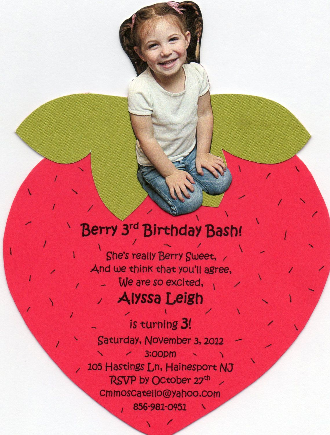 Handmade Strawberry Shortcake Invitation. by ChristyCustomCreates, $23.00