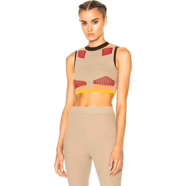 YEEZY Season 3 Sock Knit Graphic Crop Top ($115) ❤ liked on Polyvore featuring tops, fashion tops, knit crop top, cut-out crop tops, knit top, cropped tops and graphic tops