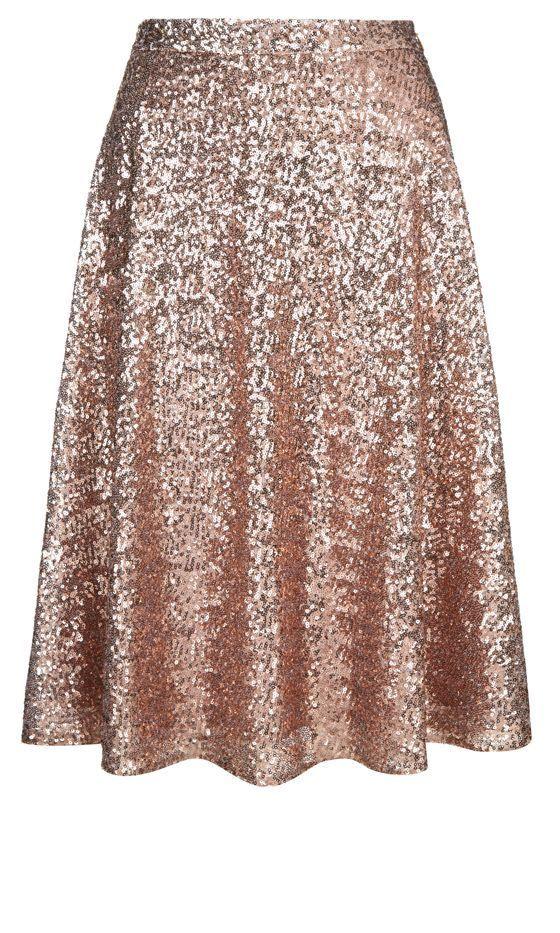 Sequin midi skirt | Rose Gold | Pinterest | Midinederdele ...