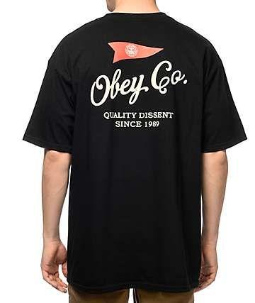 f4128c925 Obey Nautical Black T-Shirt Hang Ten, Oversized Tee, Anti Social, Social