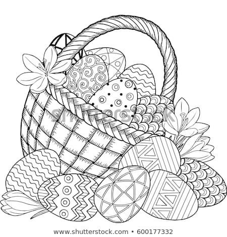 Happy Easter Black And White Doodle Easter Eggs In The Basket Coloring Book For Adults F Easter Coloring Pages Printable Easter Coloring Pages Coloring Books