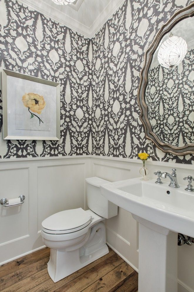 Floral wallpaper powder room traditional with wainscoting modern farmhouse half bath remodel for Wallpaper trends for bathrooms