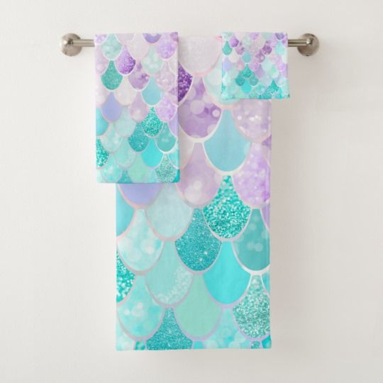 Cute Pastel Mermaid Bathroom Decor Towels | Zazzle.com #mermaidbathroomdecor