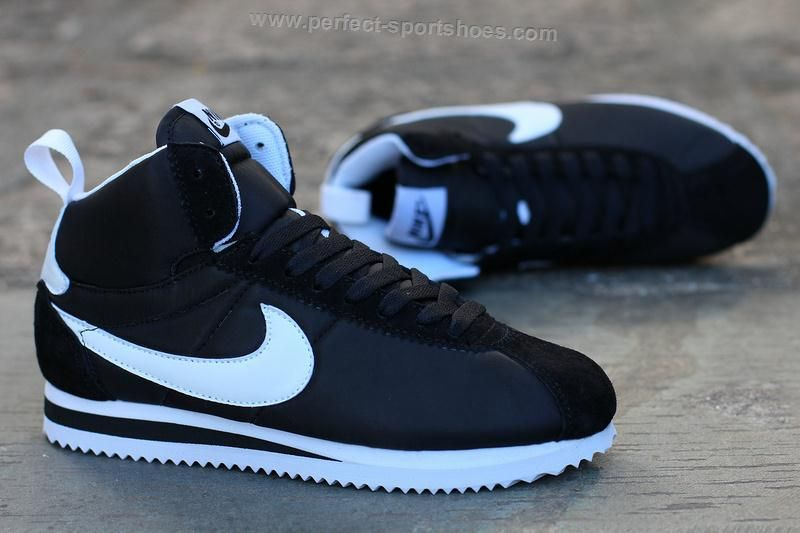 2016 Latest Selling Nike Cortez Womens High Tops Shoes Black White Logo
