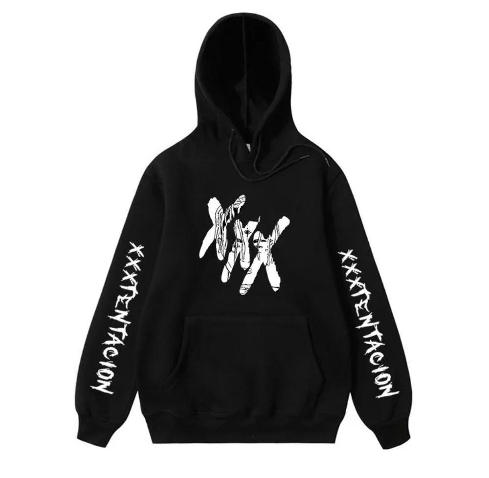 Mens Black REVENGE /'KILL/' HOODIE XXXTentacion Bad Vibes Forever white Print