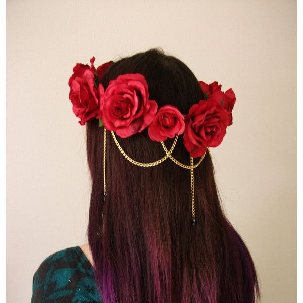 Red Rose Hair Chain Swarovski Crystal Flower Crown, Floral Wreath,... ($31) ❤ liked on Polyvore featuring accessories, hair accessories, hair, chain headbands, rose headband, red rose crown, flower garland and red headband #crownheadband
