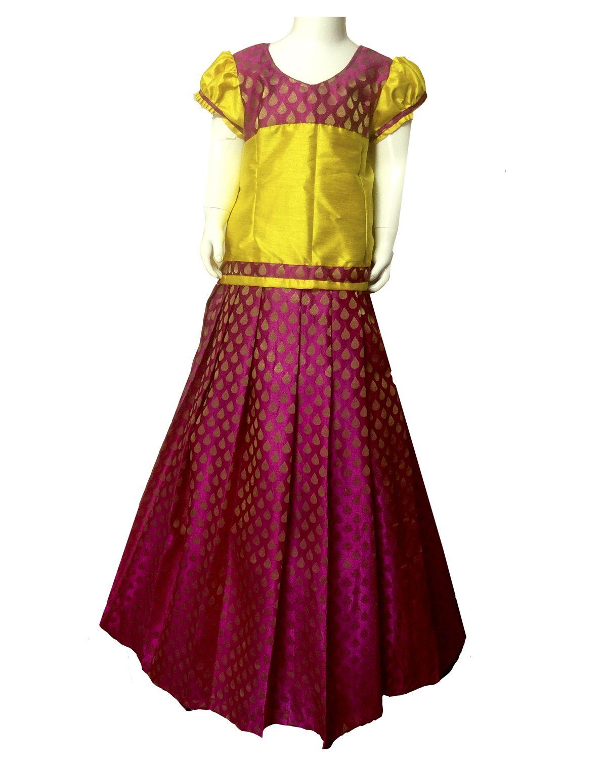 f182669d9d #kidsfrocks #kidspattufrocks Yellow with Pink Pattu Pavadai only at  www.Bujuma.com
