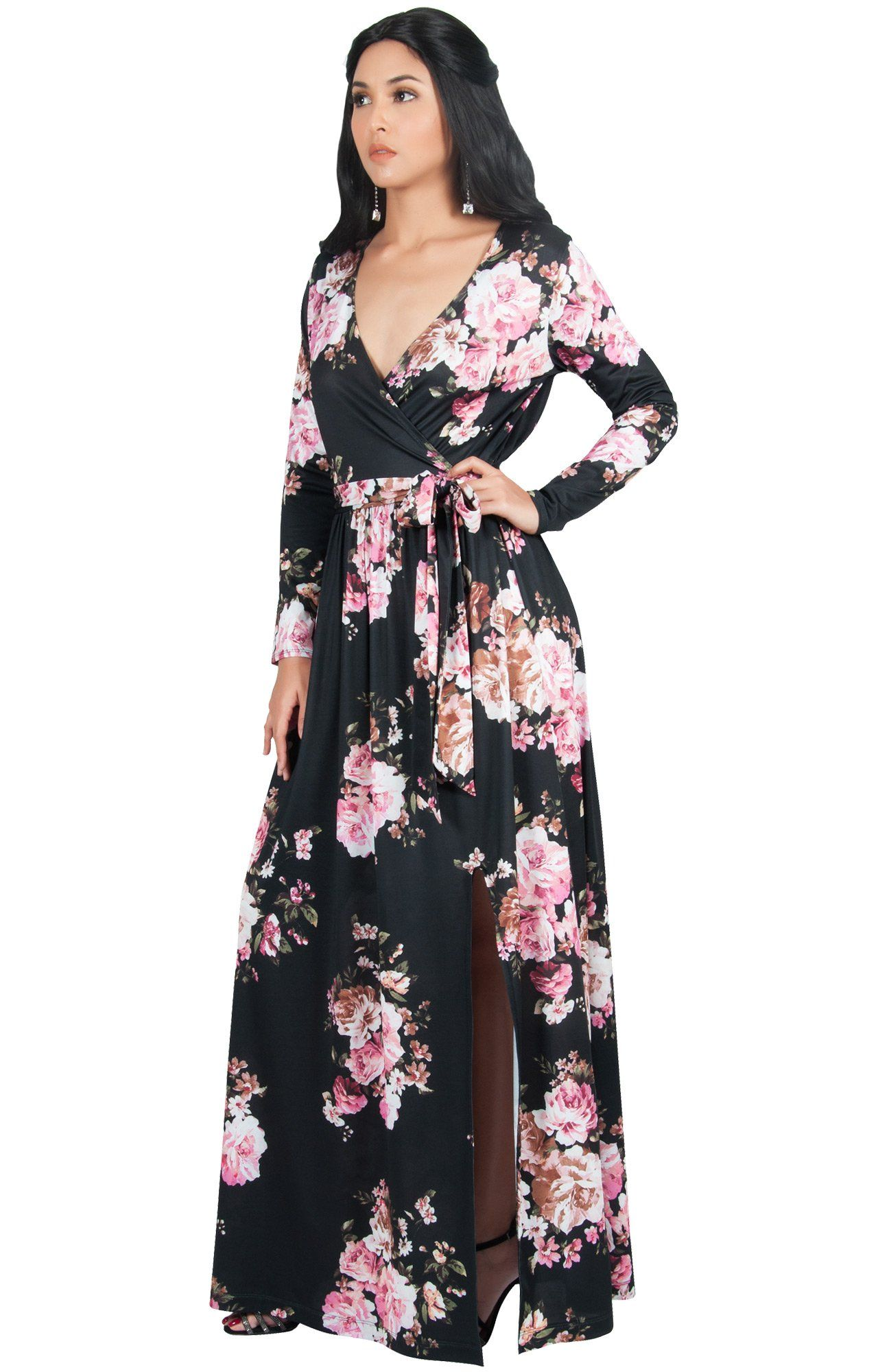 421d95199923a Maternity Dresses - KOH KOH Plus Size Womens Long Sleeve Floral Flower  Print VNeck Slit Split Cute Cocktail Evening Winter Fall Wedding Guest Sexy  Party ...