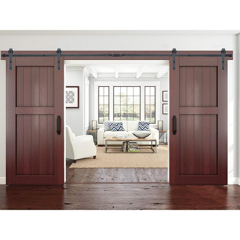 Calhome Modern European Style 144 In Matte Black Sliding Door Hardware 2 Set Swd11 Mk 72 2 Cnnt M In 2020 Sliding Doors Interior Doors Interior Interior Barn Doors