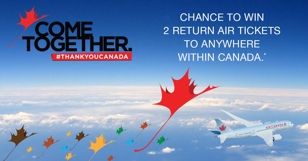 Share your 'Thank You Canada' message, photo or video for a chance to win air tickets for 2 to anywhere within Canada. Visit: http://welcomepackcanada.com/thankyoucanada/ #ThankYouCanada