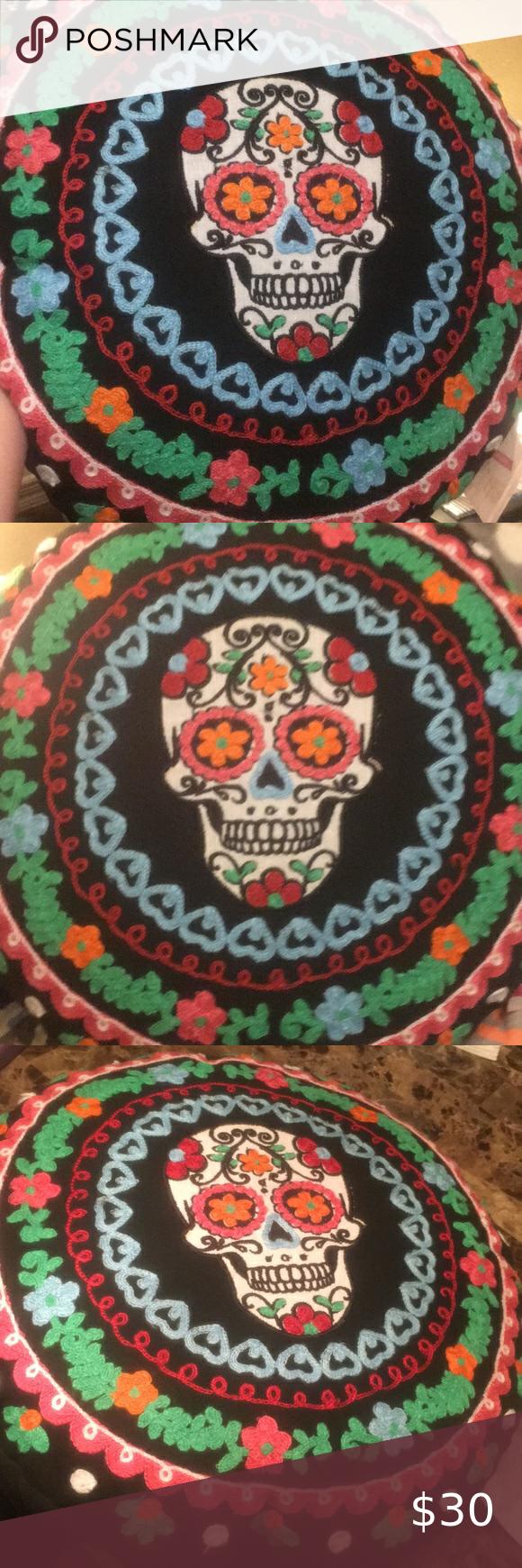 Sugar Skull decorative pillow  round boho hippie Sugar Skull embroidery pillow  ...