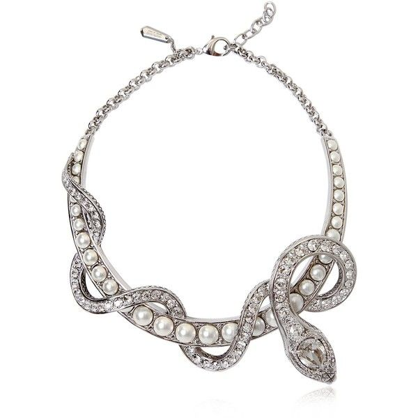 Roberto Cavalli Women Embellished Snake Necklace (€1.595) ❤ liked on Polyvore featuring jewelry, necklaces, accessories, silver, roberto cavalli, snake jewelry, rhinestone snake necklace, adjustable necklace and rhinestone jewelry