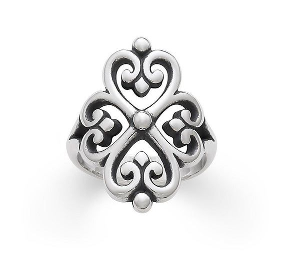 James Avery Sterling Silver Adorned Hearts Ring Size 9