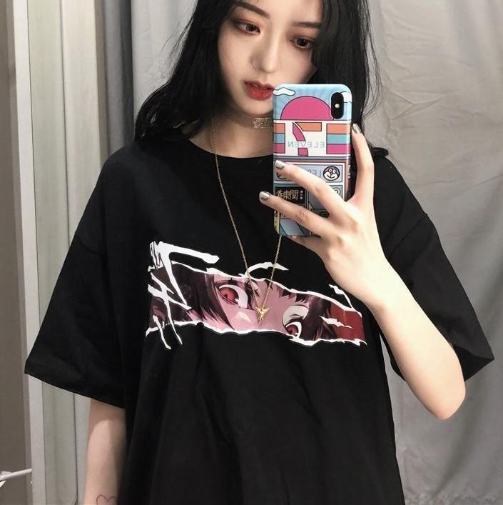 Sight Cartoon Anime Print Black Oversized T Shirt Anime In 2019