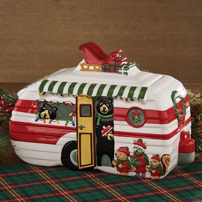 Hometown Holiday Christmas Bear Rv Trailer Caravan Shape Cookie Jar Christmas Bear Bear Decor Black Bear Decor