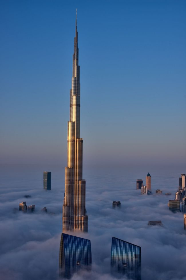 Photograph captured from the 79th floor of the Index Tower,  The building forms the centrepiece of Downtown Dubai