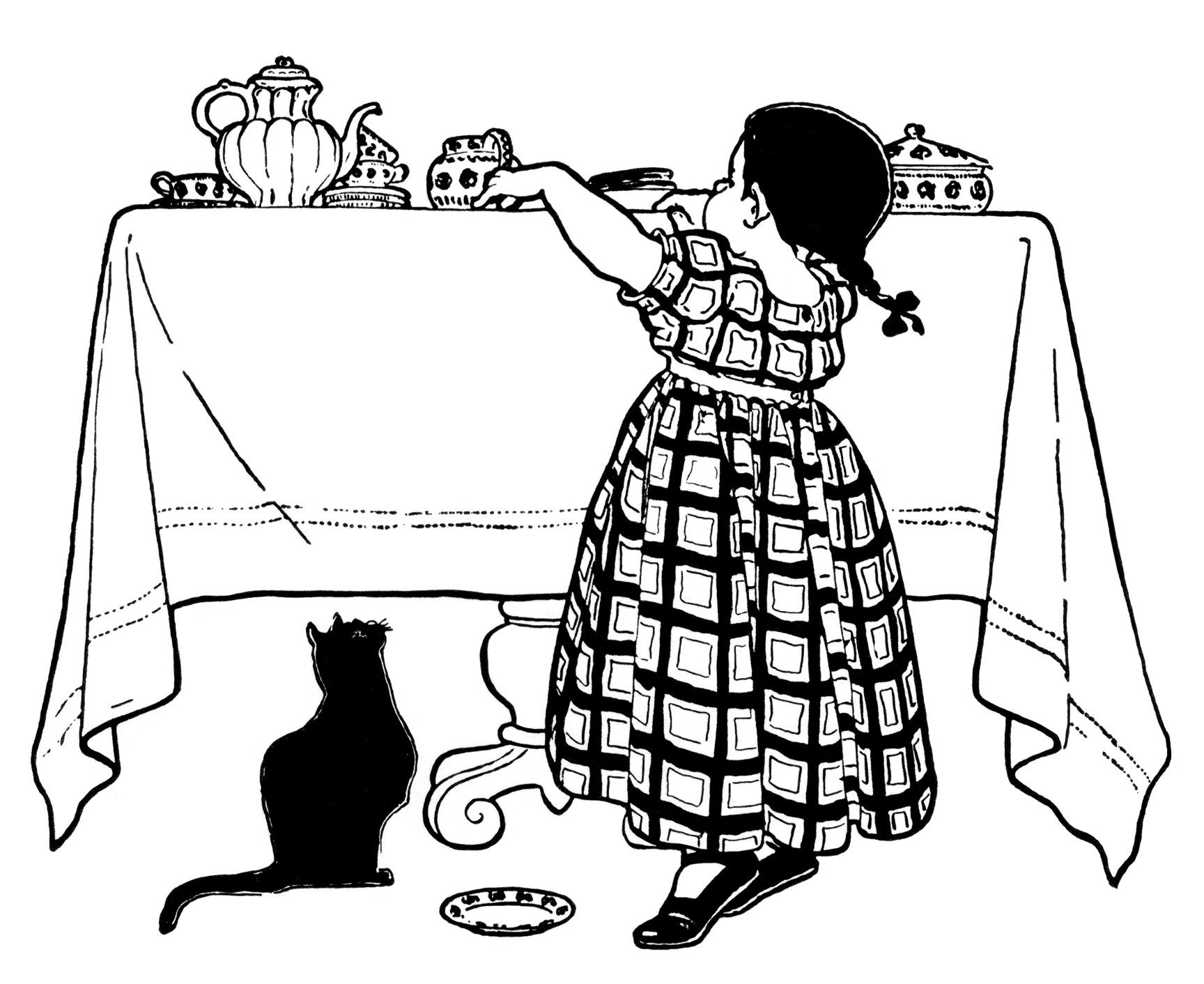 Victorian Girl Clip Art Within Reach Child Feeding Cat