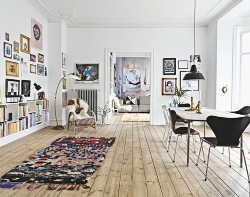 Scandi living and dining room. Via Stardust o sequins