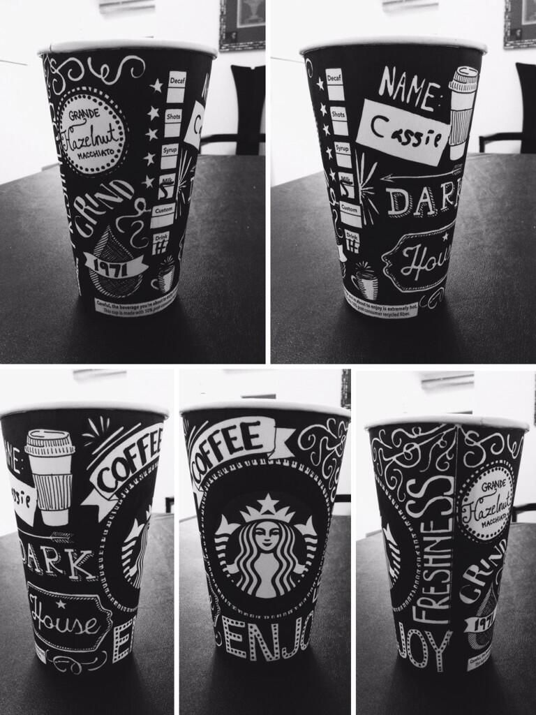 Cassie Xiong on Coffee cup art, Starbucks cup art