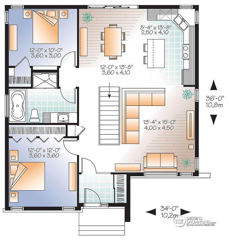 Détail du plan de maison unifamiliale w3135