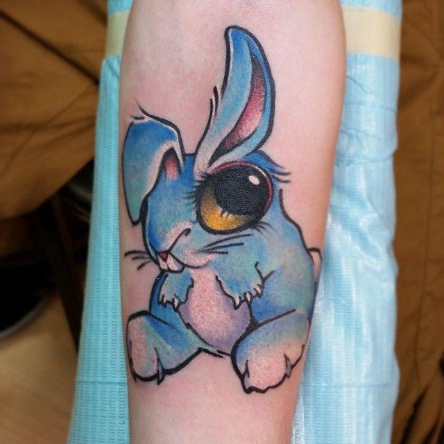 Been wanting to tattoo this little bun for years! #tattoo #tattoos #RhodeIsland #providence #Warren #1001troubles #freddcheeto #tattooshop #bunny #bunnies #rabbit #bunnytattoo #critters #animaltattoos #buns #newschool #newschooltattoo #jammer #color #masstattoonetwork #artmotive #illustrateyourworld