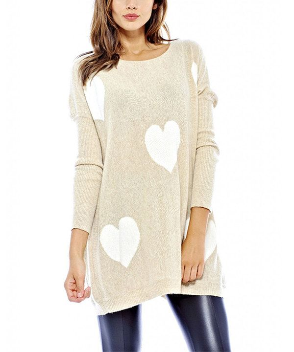 Look at this AX Paris Off-White Heart Sweater Tunic on #zulily today!
