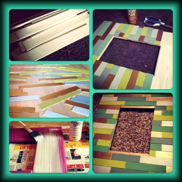 Popsicle sticks + paint + frame = cheap cute picture frame ...
