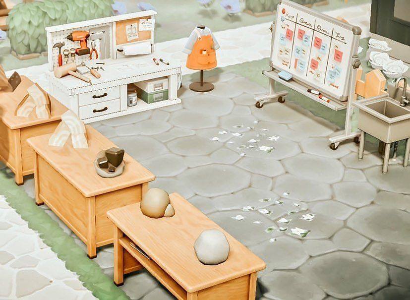 Animal Crossing New Horizons On Instagram Crafting Area By Monsteracrossings This Is Such A Nice Animal Crossing Game New Animal Crossing Animal Crossing