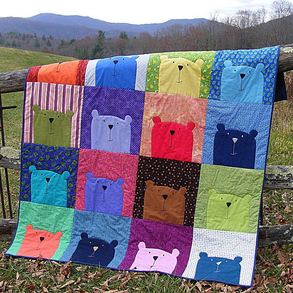 Peekaboo Bear applique quilt pattern from Shiny Happy World