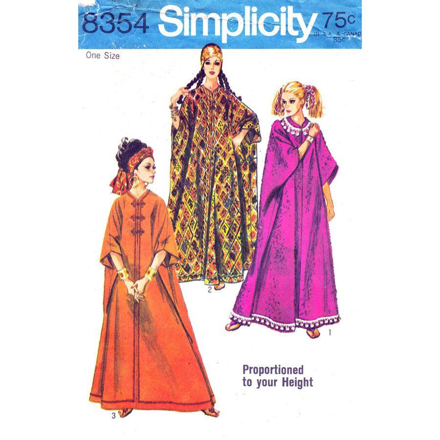 Vintage Caftan Pattern Simplicity 8354 Zipper Front Kaftan Beach Dress Proportioned Height