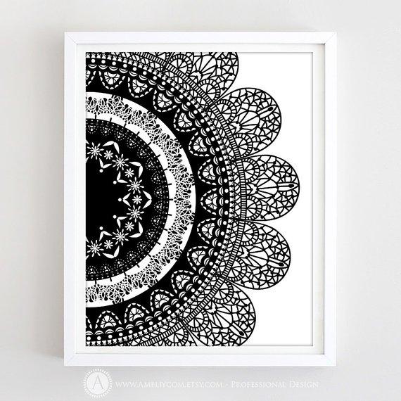 Boho Printable Mandala Art Print Mandala Pattern Poster