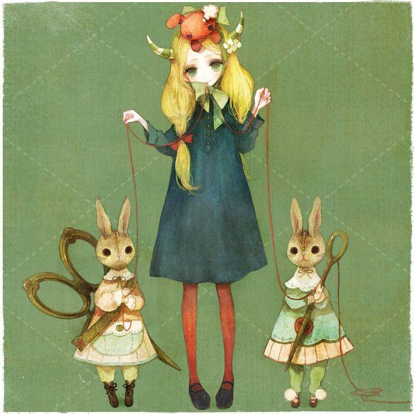 She got two more bunnies. The author: Asema Kino