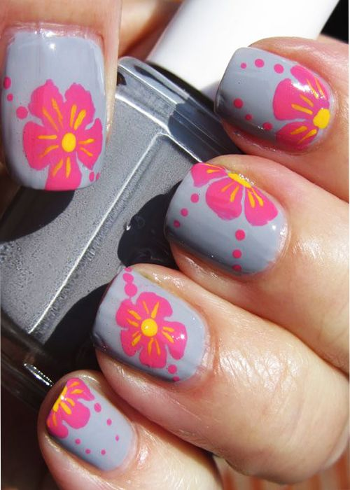 spring Nail Designs for Short Nails | Floral Print Spring Nail Art ...