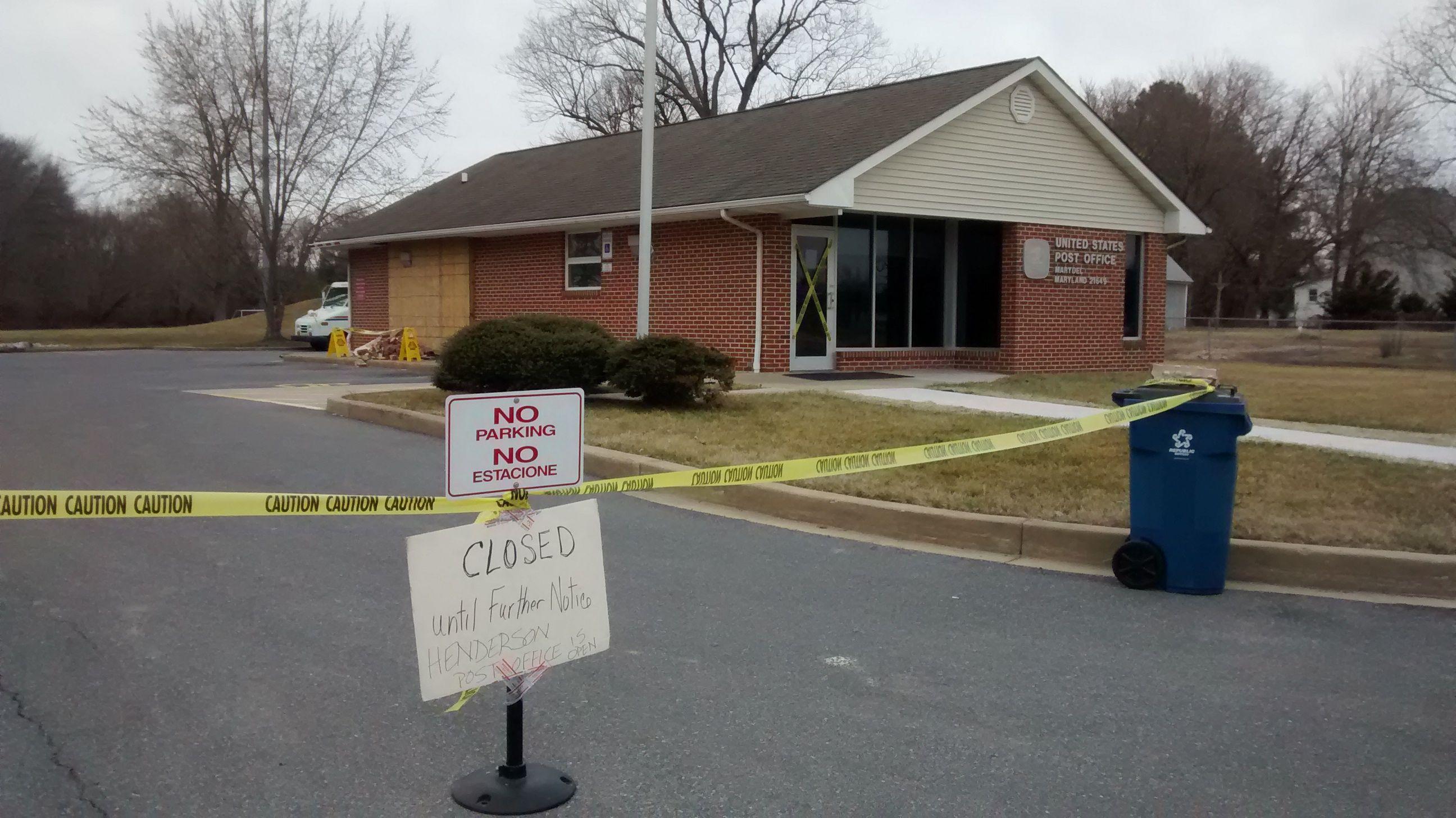Car Runs Through Marydel Post Office