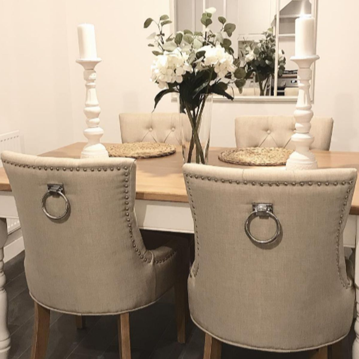 Verona Dining Chair In Cream Linen With Chrome Knocker And Oak Legs Dining Table In Living Room Cream Dining Room Luxury Dining Room