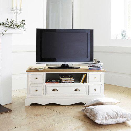 Meuble Tv En Bois De Paulownia Crème L 118 Cm Projets à Essayer