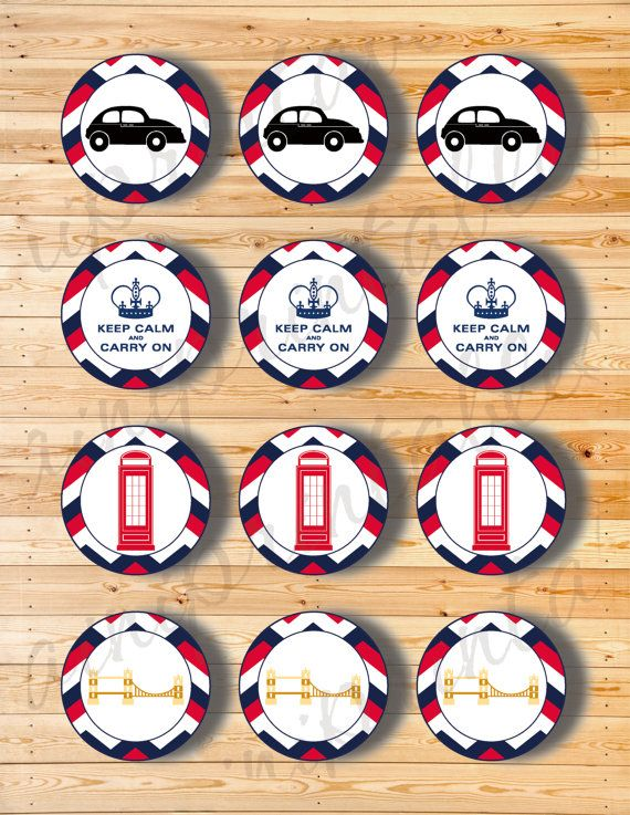 Two Digital Files  Cupcake Topper London 2 by AiniPrintables