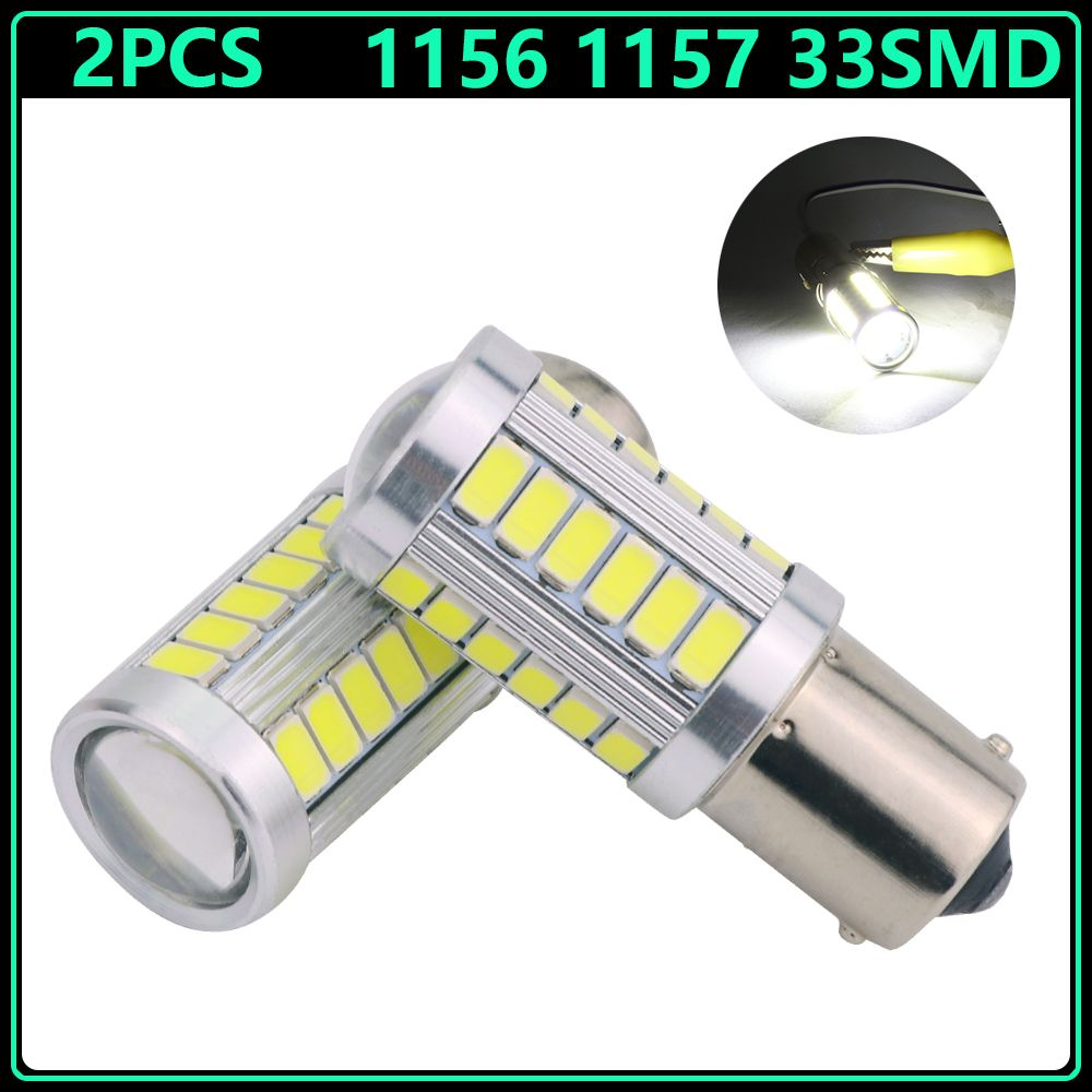 2pcs Strobe 1156 Ba15s Bay15d 1157 P21w 33 Led 5630 5730 Smd Car Bulb Brake Lights Auto Reverse Lamp Daytime Running Light White