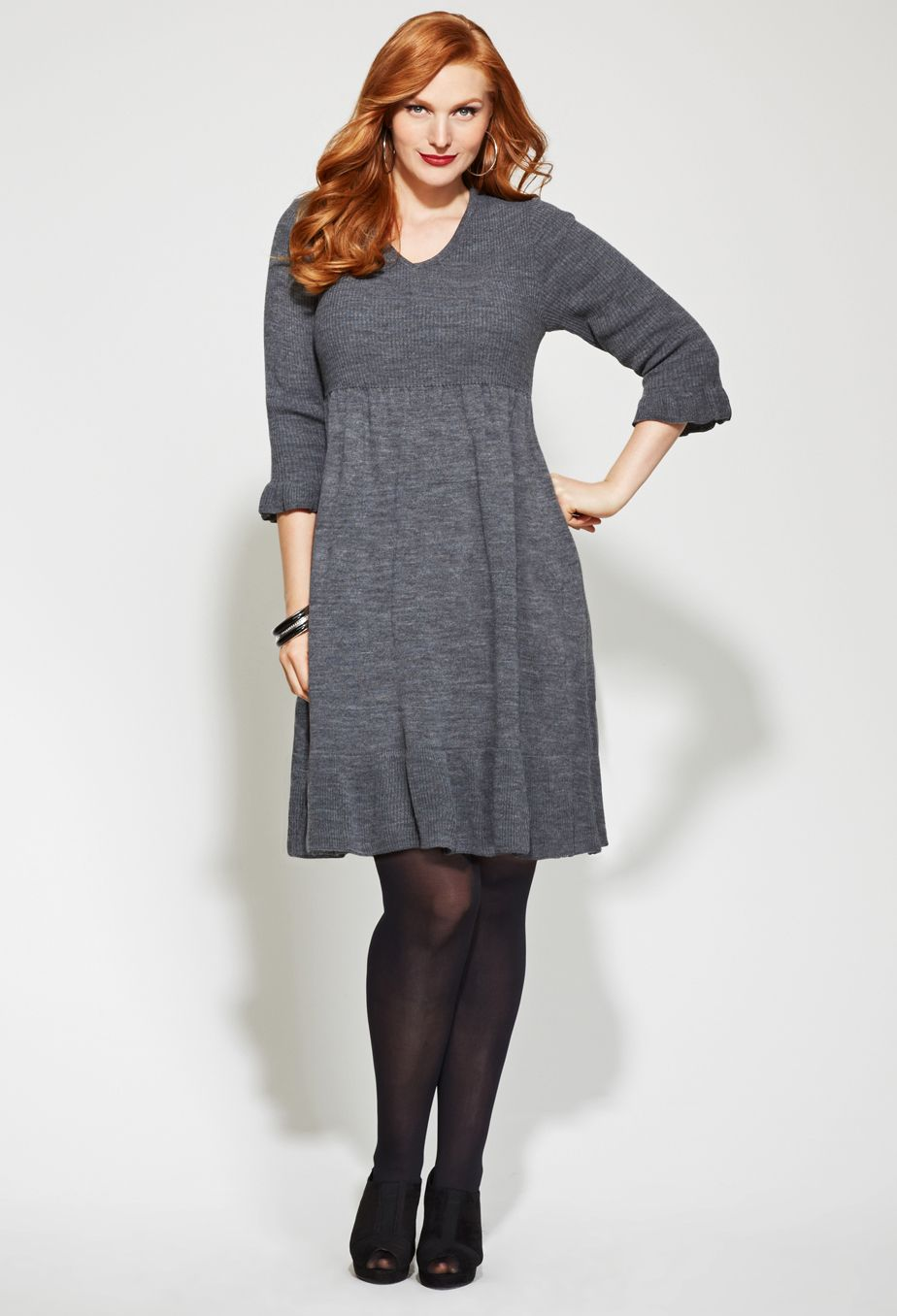 Plus Size Ruffle Hem Sweater Dress | Plus Size Sweater Dresses ...