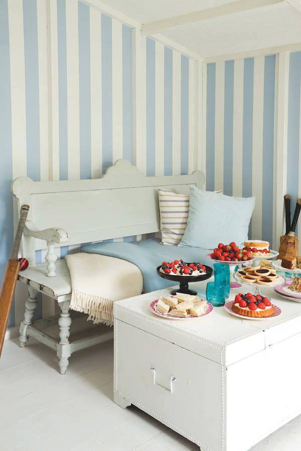papel pintado rayas anchas Glastonbury azulito, en telas & papel