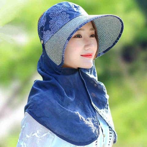 Summer Flower Sun Protection Hat With Neck Cover For Women Uv Sun Visor Hats Sun Visor Hat Sun Protection Hat Women
